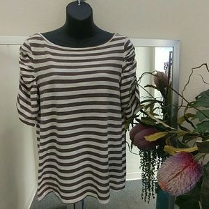 Little Yellow Button Striped Knit Top